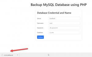 backup database in php