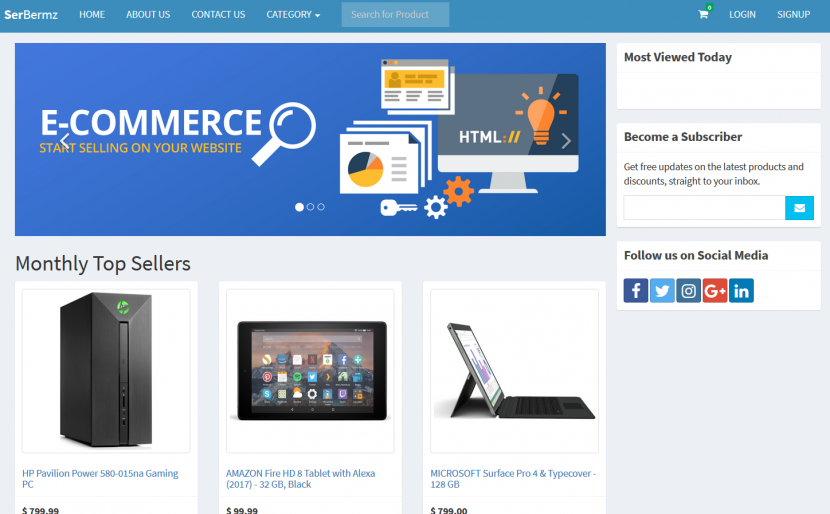 ecommerce site in php