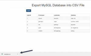 export mysql database into csv file
