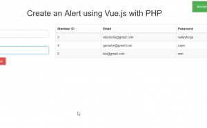 create an alert using vue.js in php