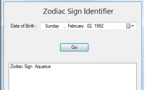 identify zodiac sign in c#