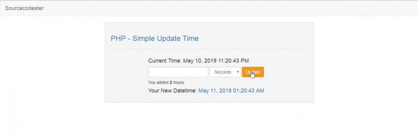 update time in php