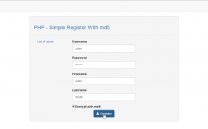 Register With md5