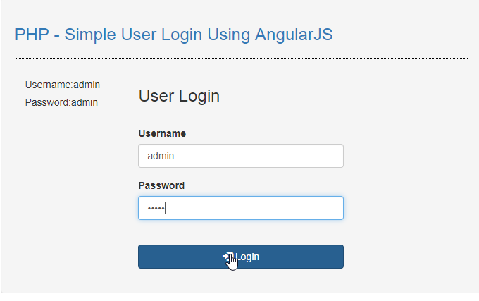 user login using angularjs in php