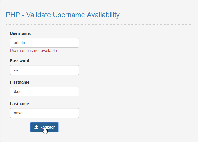 username availabilty in php