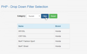 drop down filter selection with mysql in php