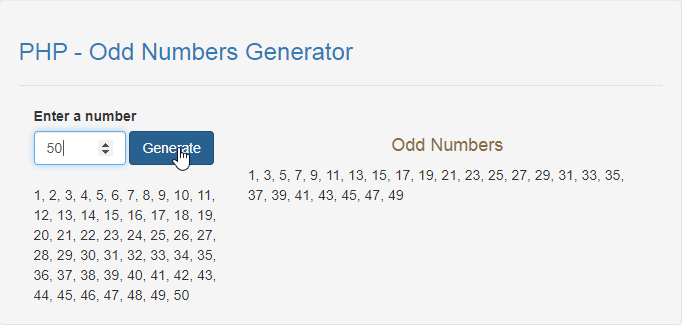 odd number generator in php