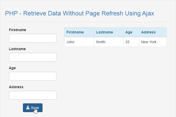 retrieve data using ajax