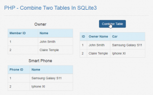 How to Combine Two Tables In SQLite3 using PHP
