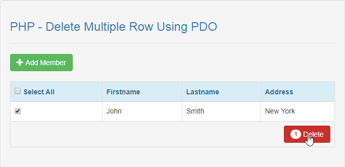 Delete Multiple Row using PDO in PHP