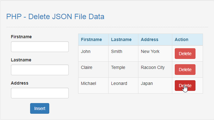 how to delete json file in php