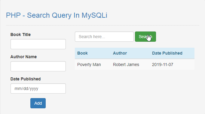 search query in mysqli