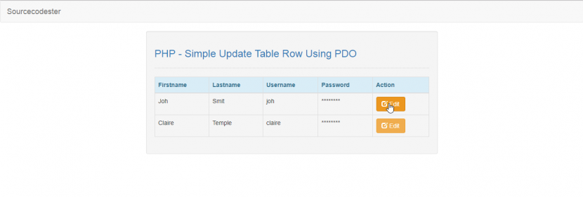 update table row using pdo