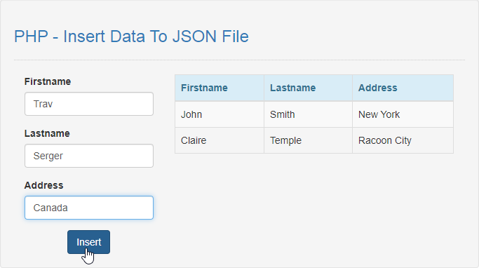 insert data to json file