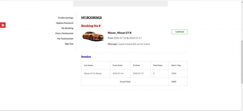 car rental system booking