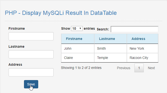 display mysqli result in datatable using php