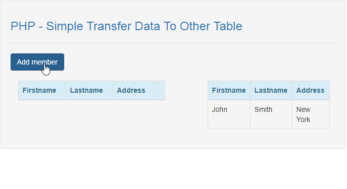 how to transfer data to other table in php