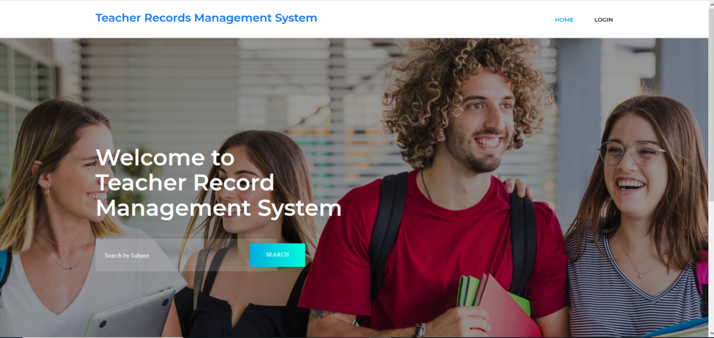 teacher record management system homepage
