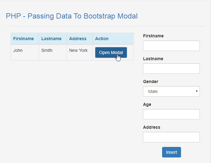 passing data to bootstrap modal