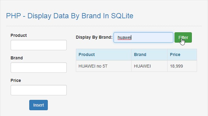 display data by brand in php