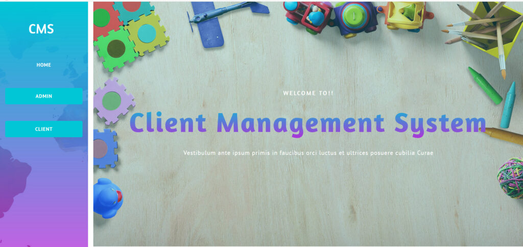 client management homepage