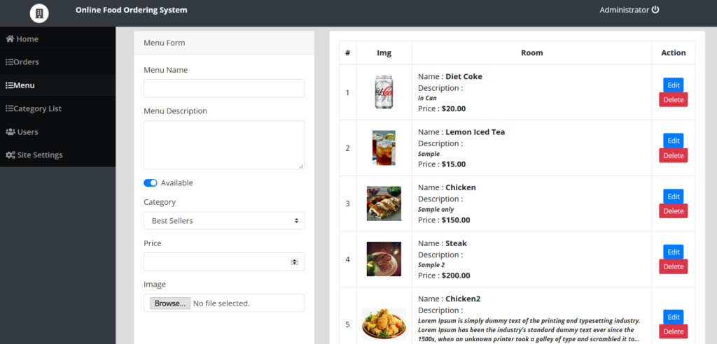 online food ordering system php mysql